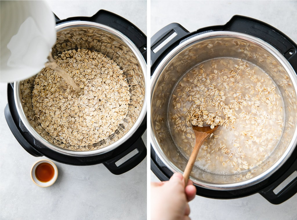 side by side photos showing the process of making healthy oatmeal in an instant pot.