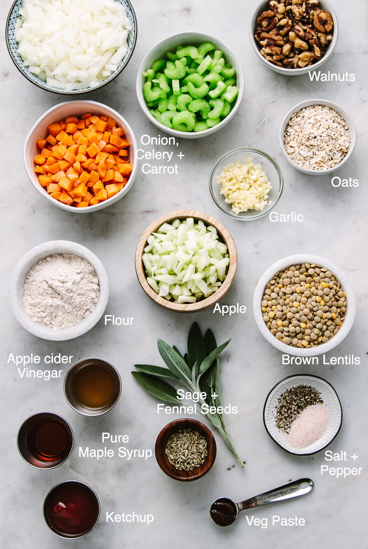 top down view of the ingredients used to make lentil loaf recipe with apple, fennel and sage.