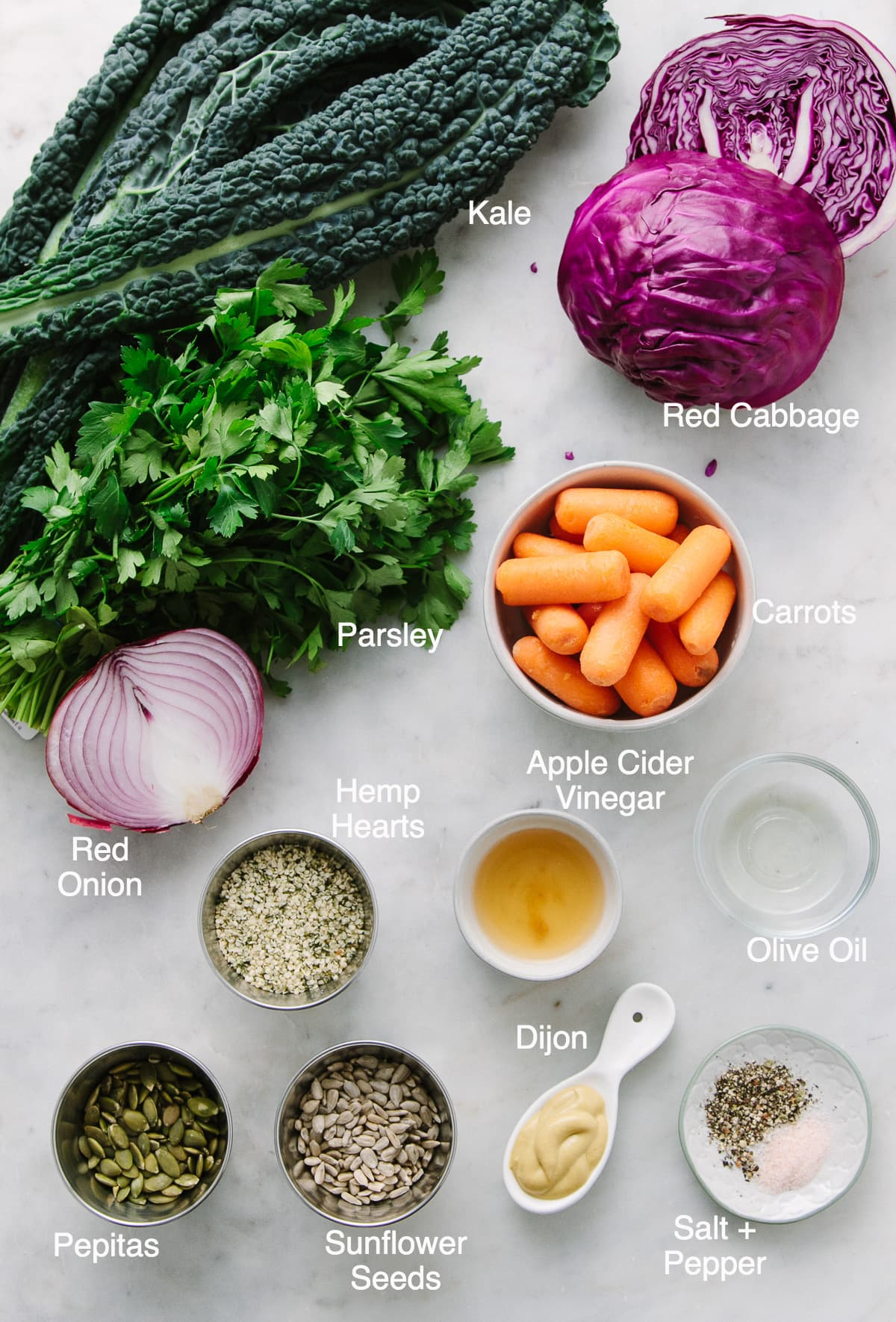 top down view of ingredients used to make kale and red cabbage slaw recipe.