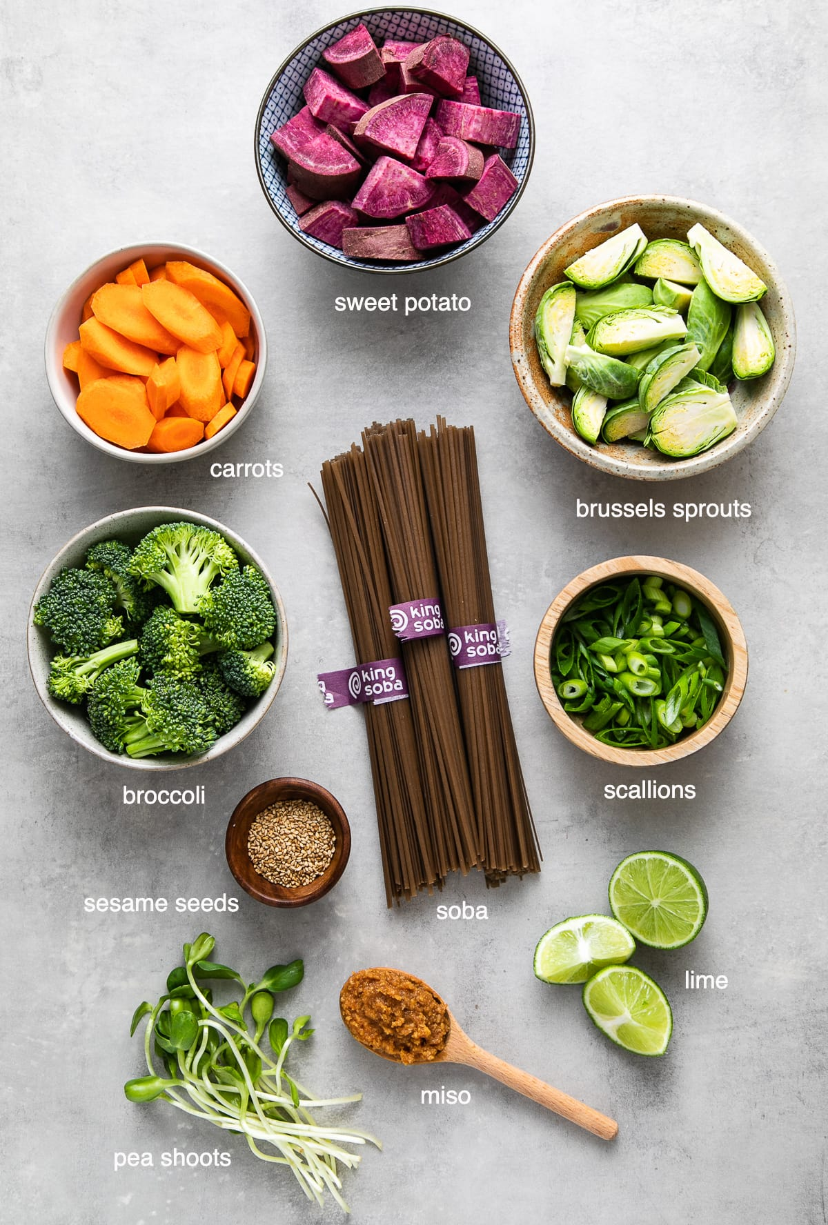 top down view of ingredients used to make soba miso soup with vegetables.
