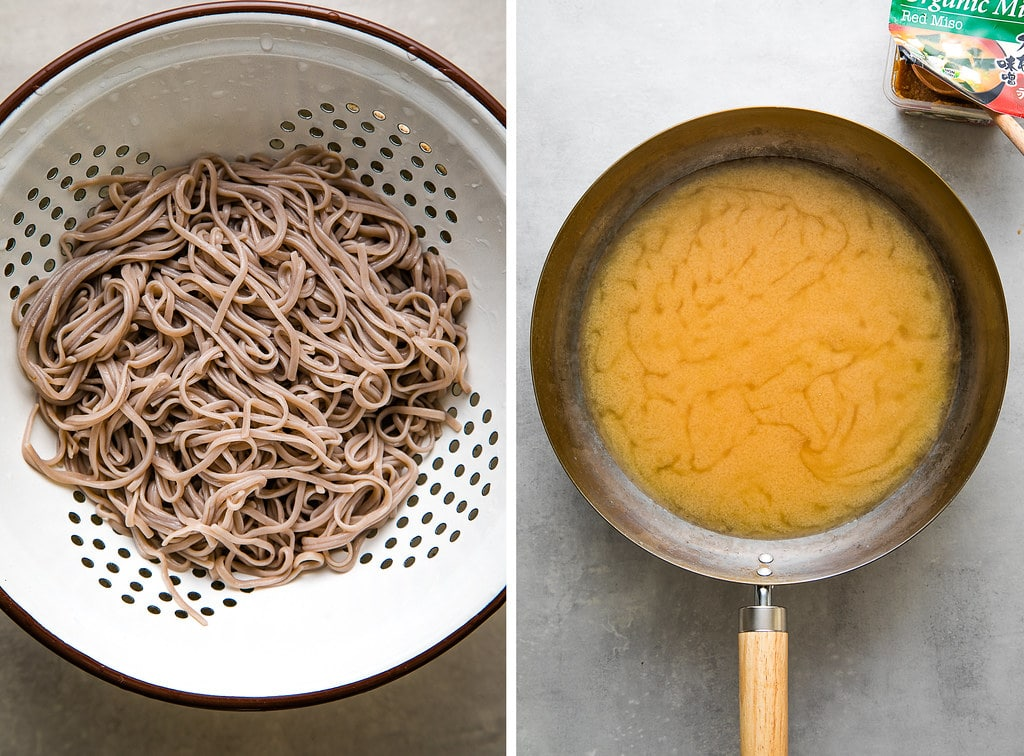 side by side photos of cooked soba noodles in a white colander and miso soup warmed in a wok.