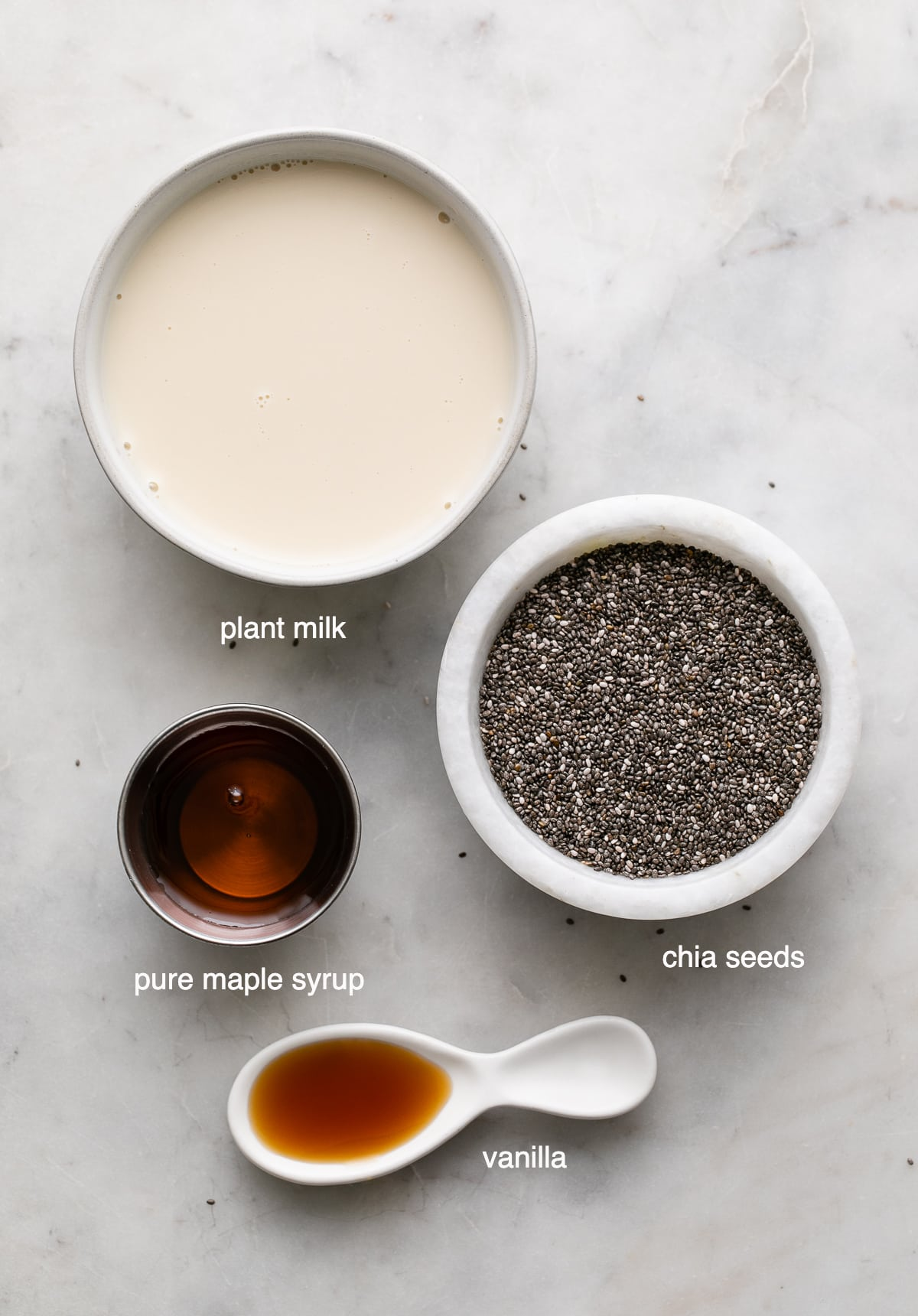 top down view of ingredients used to make healthy vanilla chia pudding recipe.