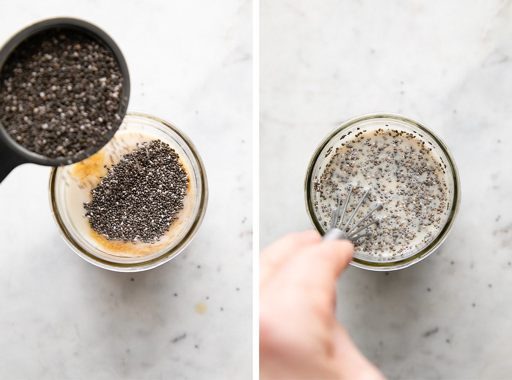 side by side by photos showing the process of making vanilla chia seed pudding in glass jar.