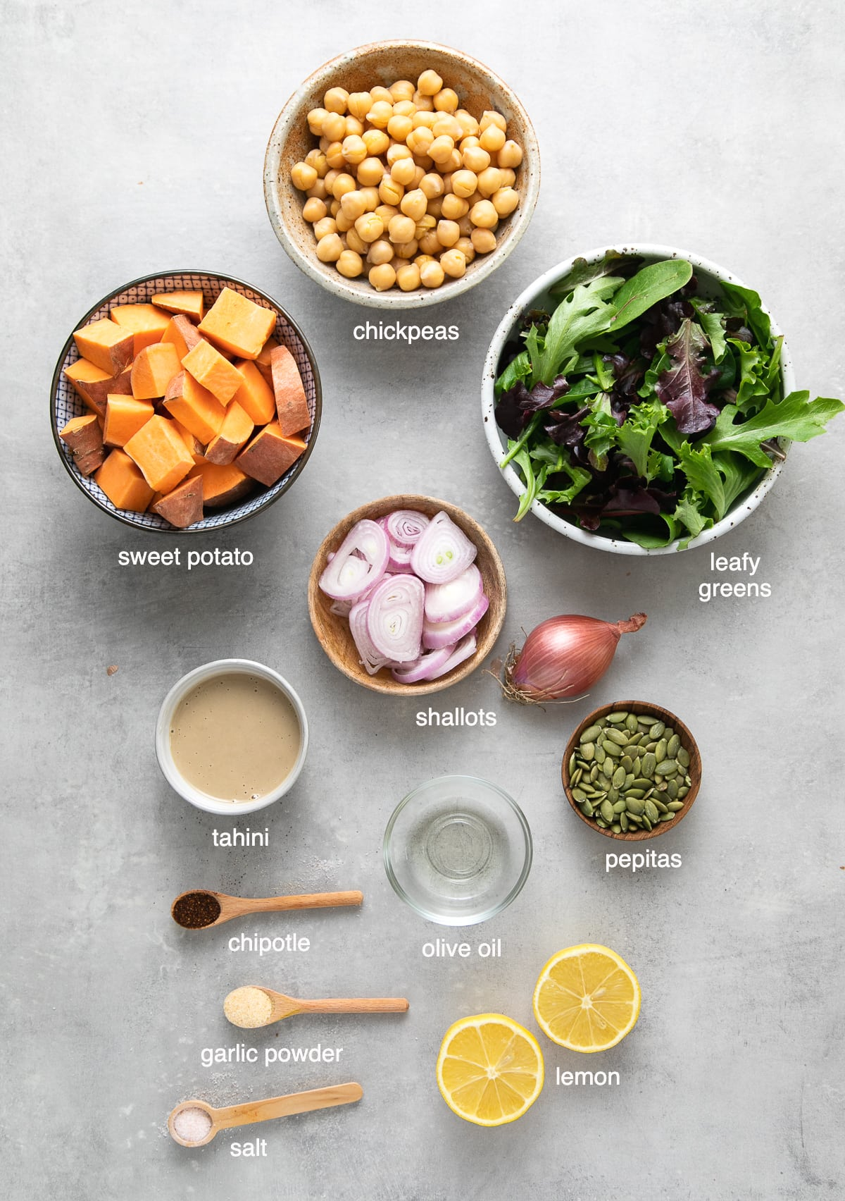 top down view of ingredients used to make sweet potato chickpea salad.