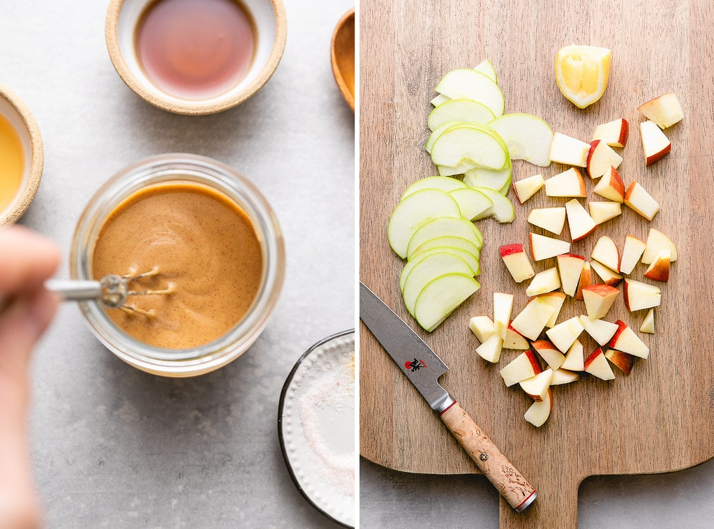 side by side photos showing the process of making peanut dressing as diced apples.