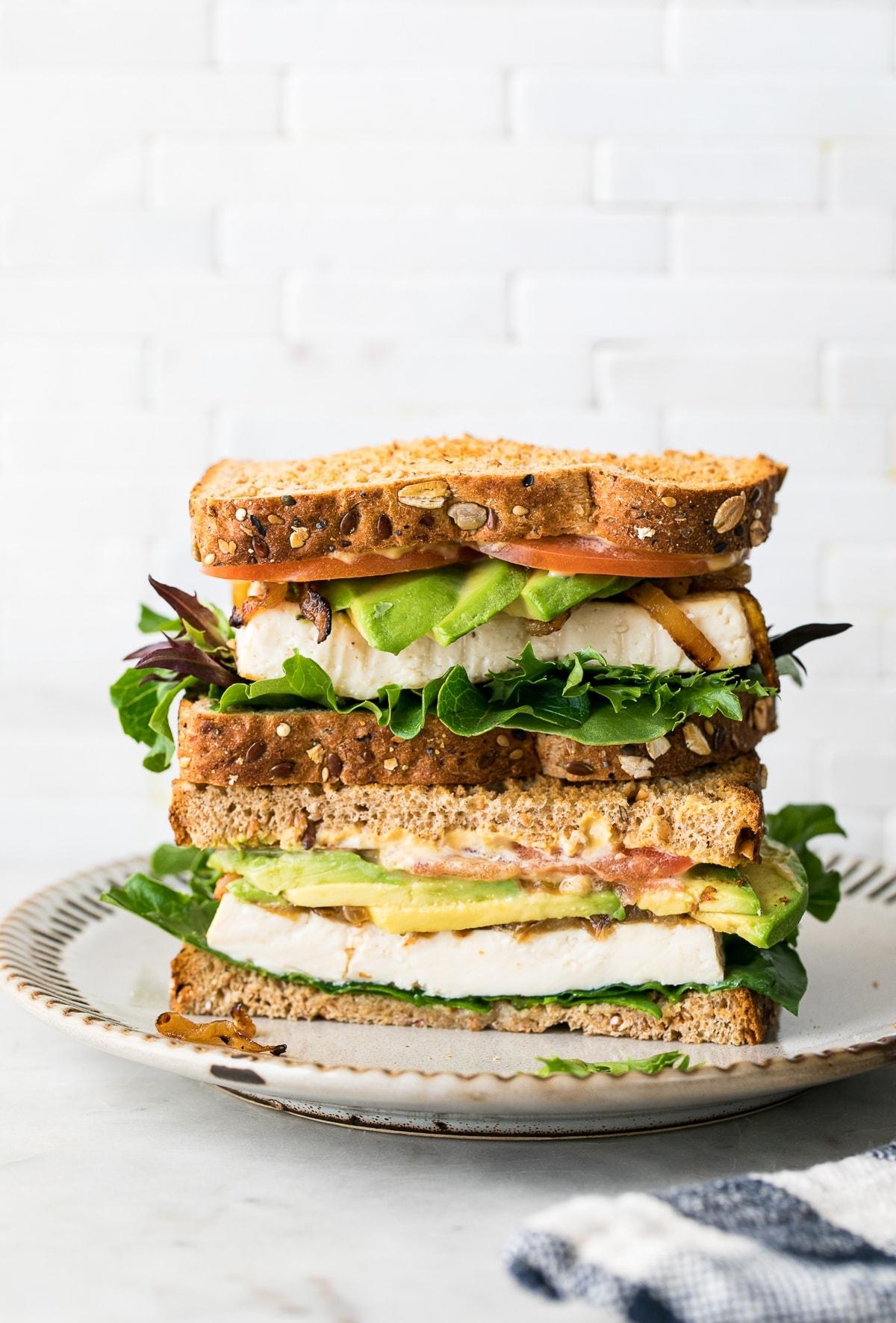 Toasted Avocado Tofu Sandwich Sauteed Onions The Simple Veganista