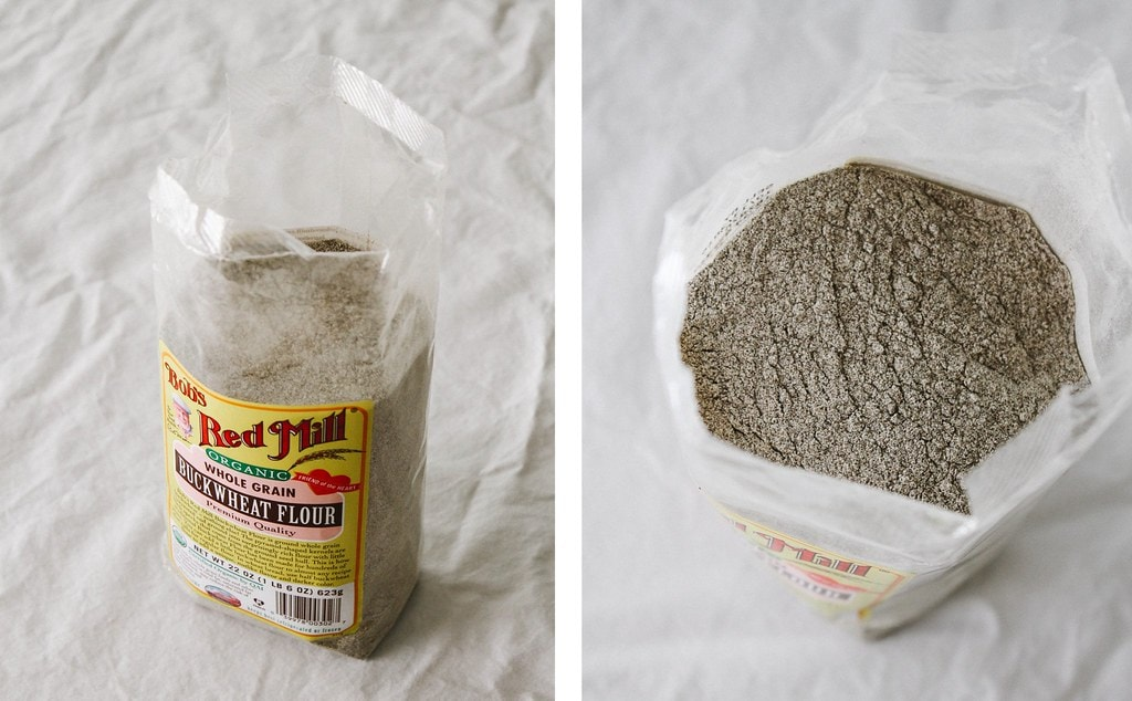 side by side view of buckwheat flour.