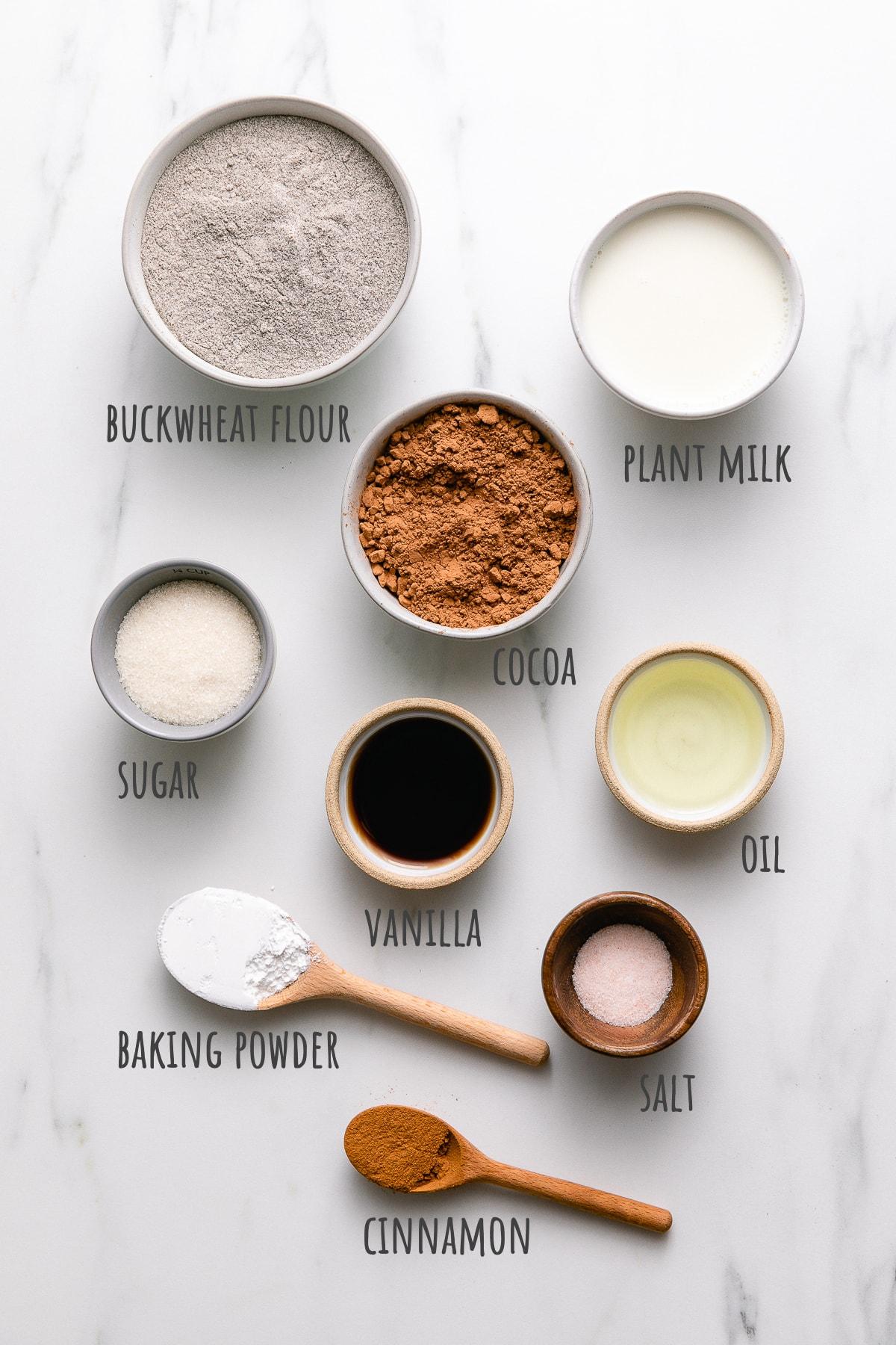 top down view of ingredients used to make vegan buckwheat waffles recipe.