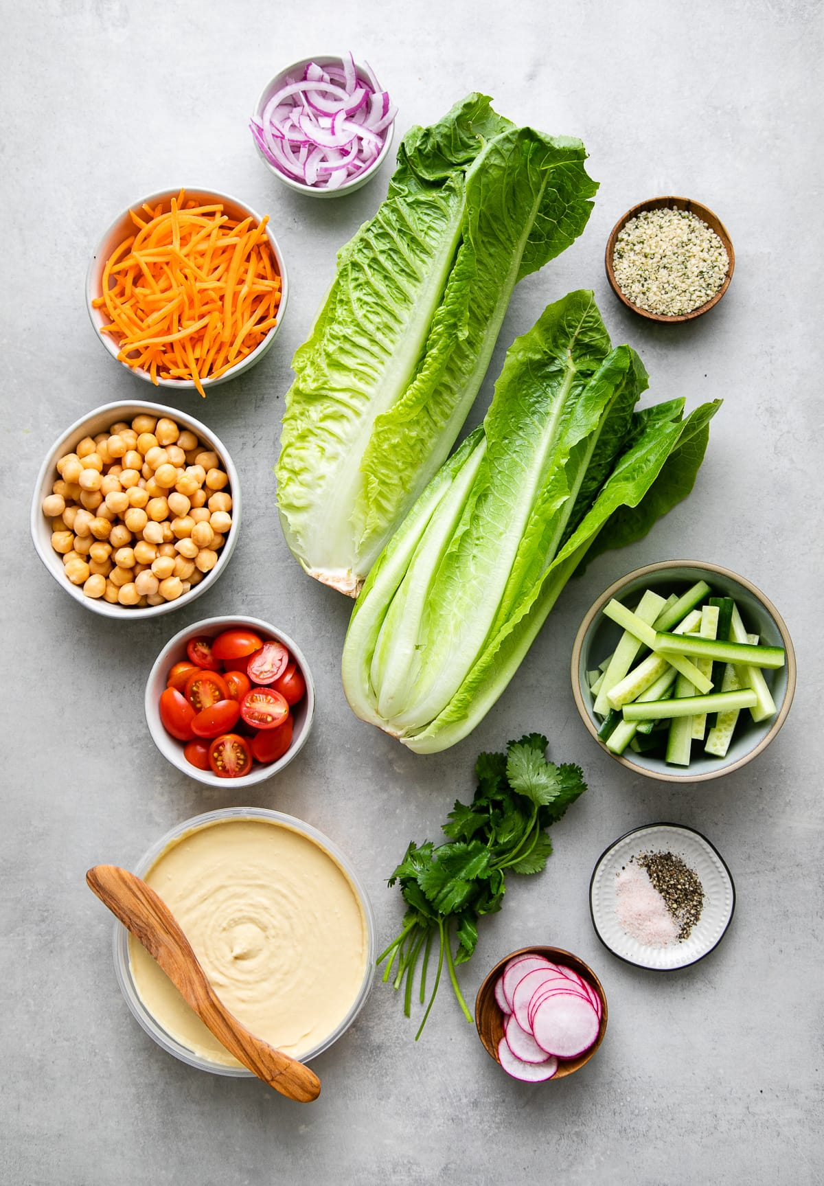 top down view of fresh and healthy vegan lettuce wraps ingredients.