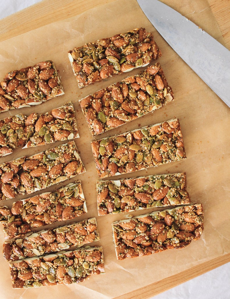 spicy nut and seed bar cut into slices.
