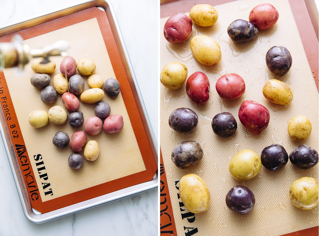 side by side photos showing the process of prepping baby potatoes.