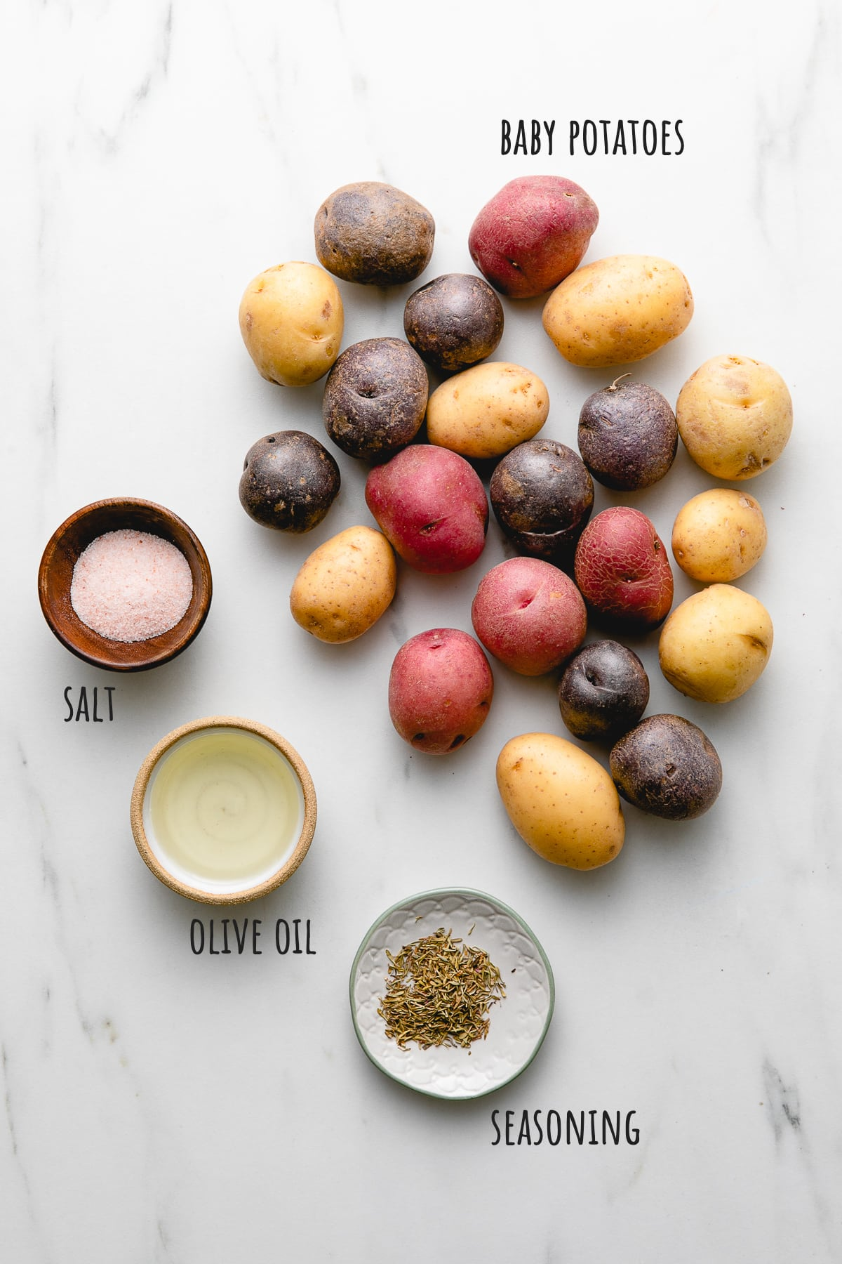 top down view of ingredients used to make crispy smashed potatoes recipe.
