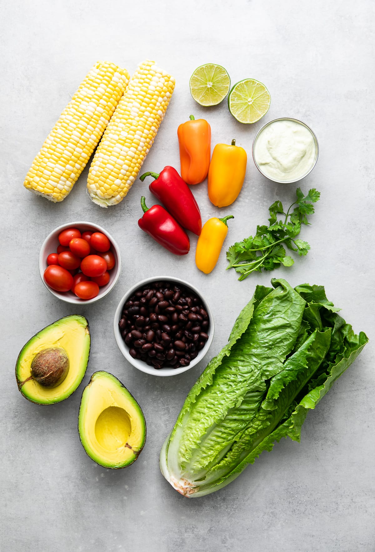 top down view of ingredients used to make healthy southwestern salad recipe.