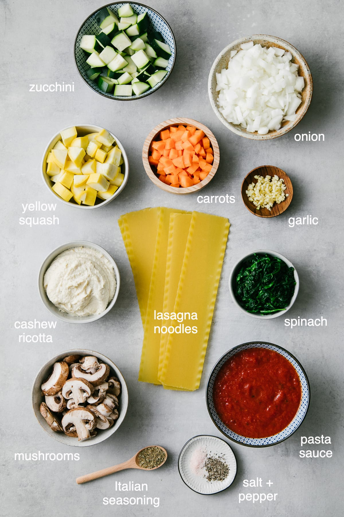 top down view of ingredients used to make vegetable vegan lasagna.