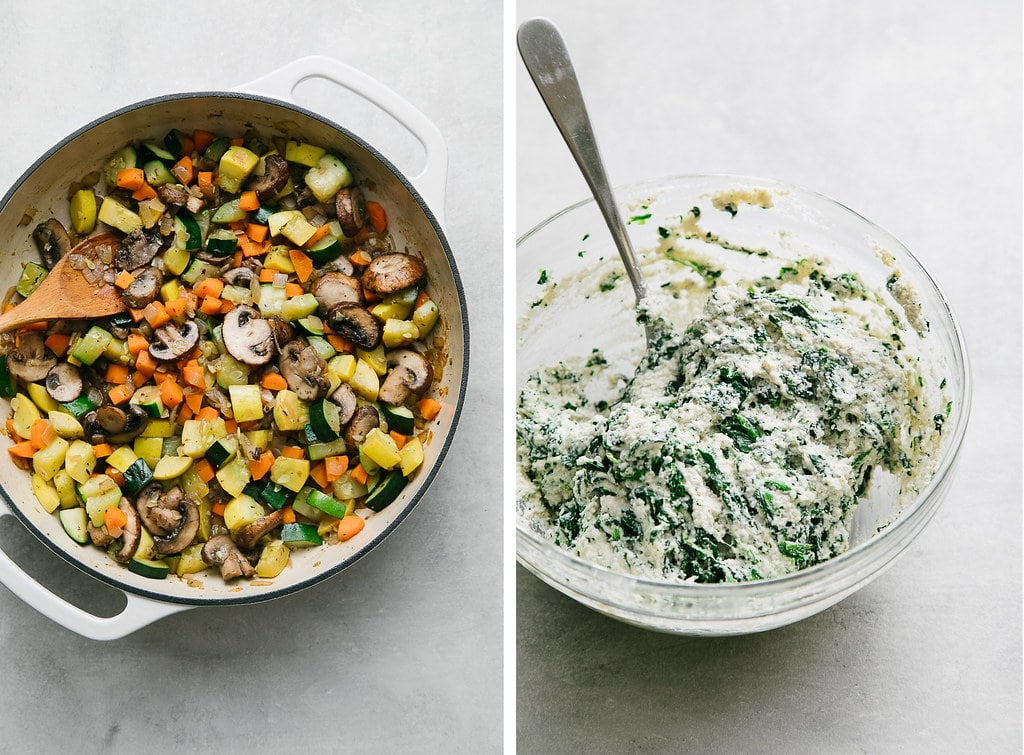 side by side photos showing sauteed veggies and spinach cashew ricotta.