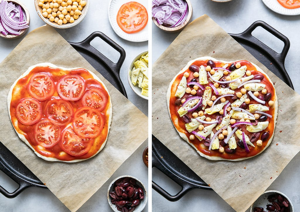 side by side photos showing the process of adding toppings on pizza dough before baking.