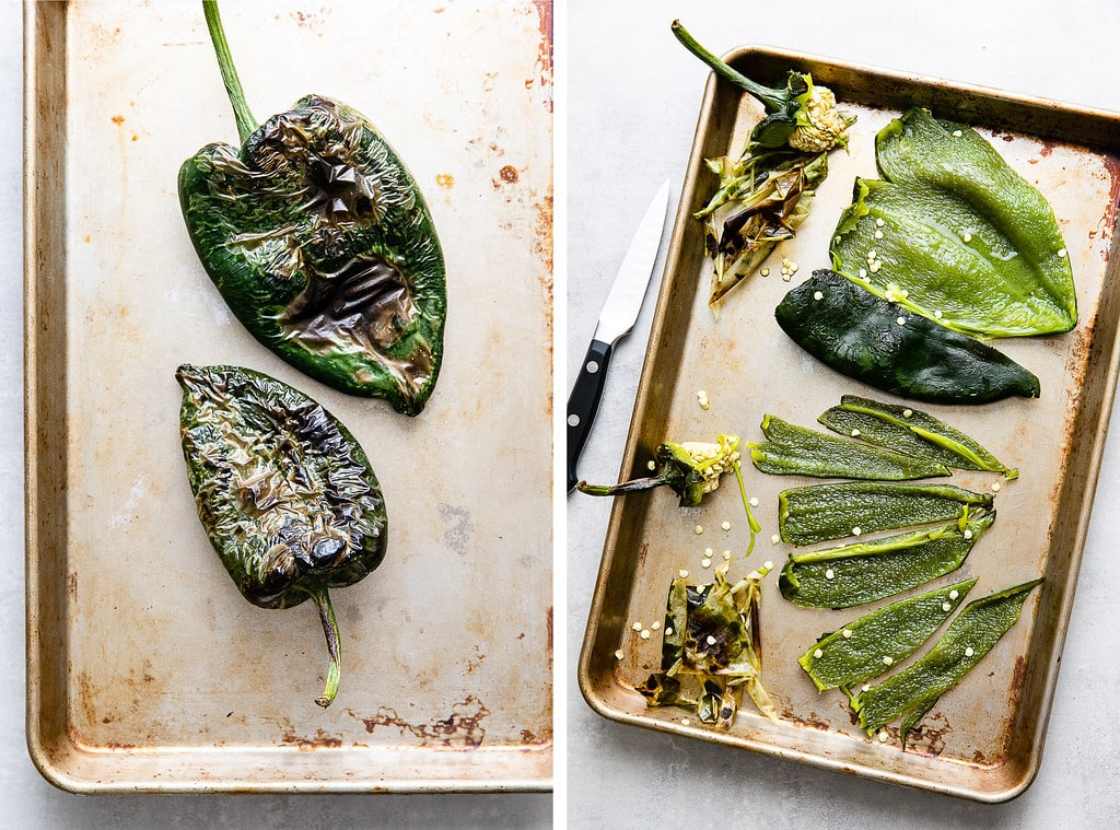 side by side photos showing the process of prepping roasted poblano peppers.