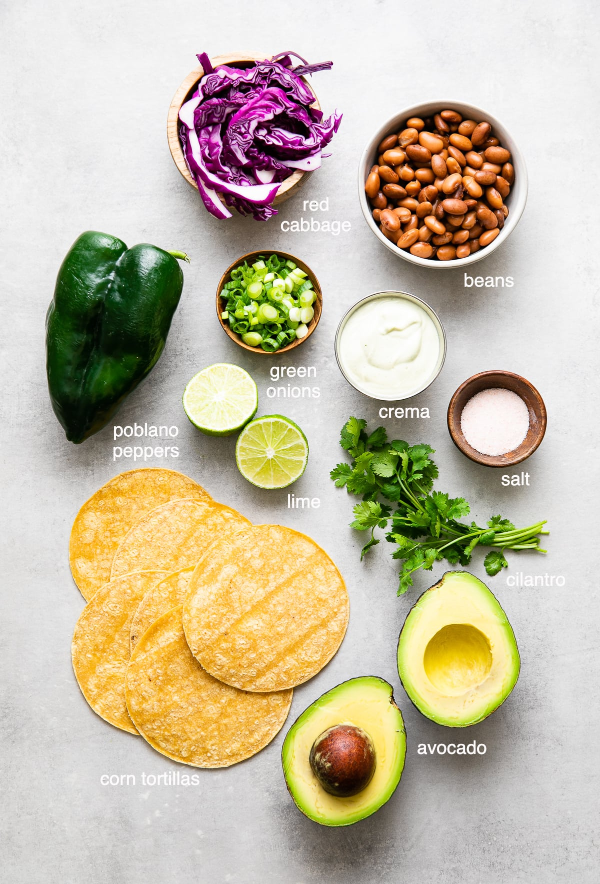 top down view of ingredients used to make the best healthy poblano tacos.