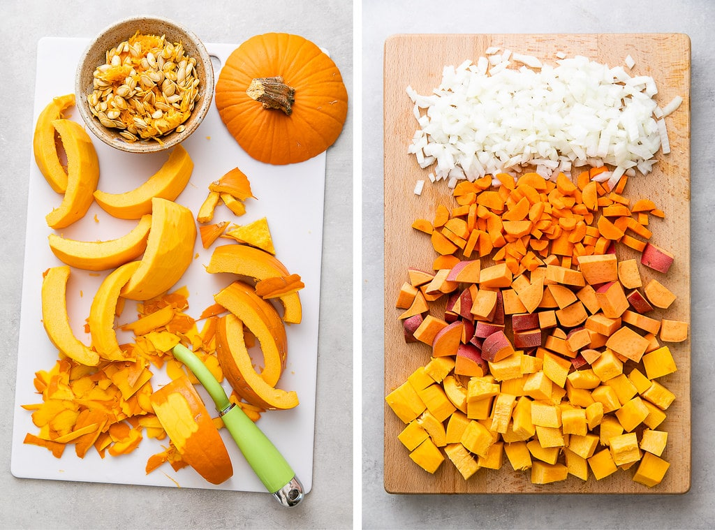 side by side photos showing prepped pumpkin and veggies.