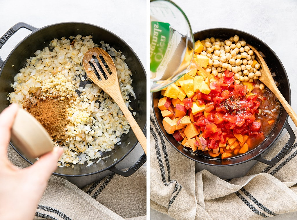 side by side photos showing the process of sauteing aromatics and adding veggies to make morroccan pumpkin chickpea stew.