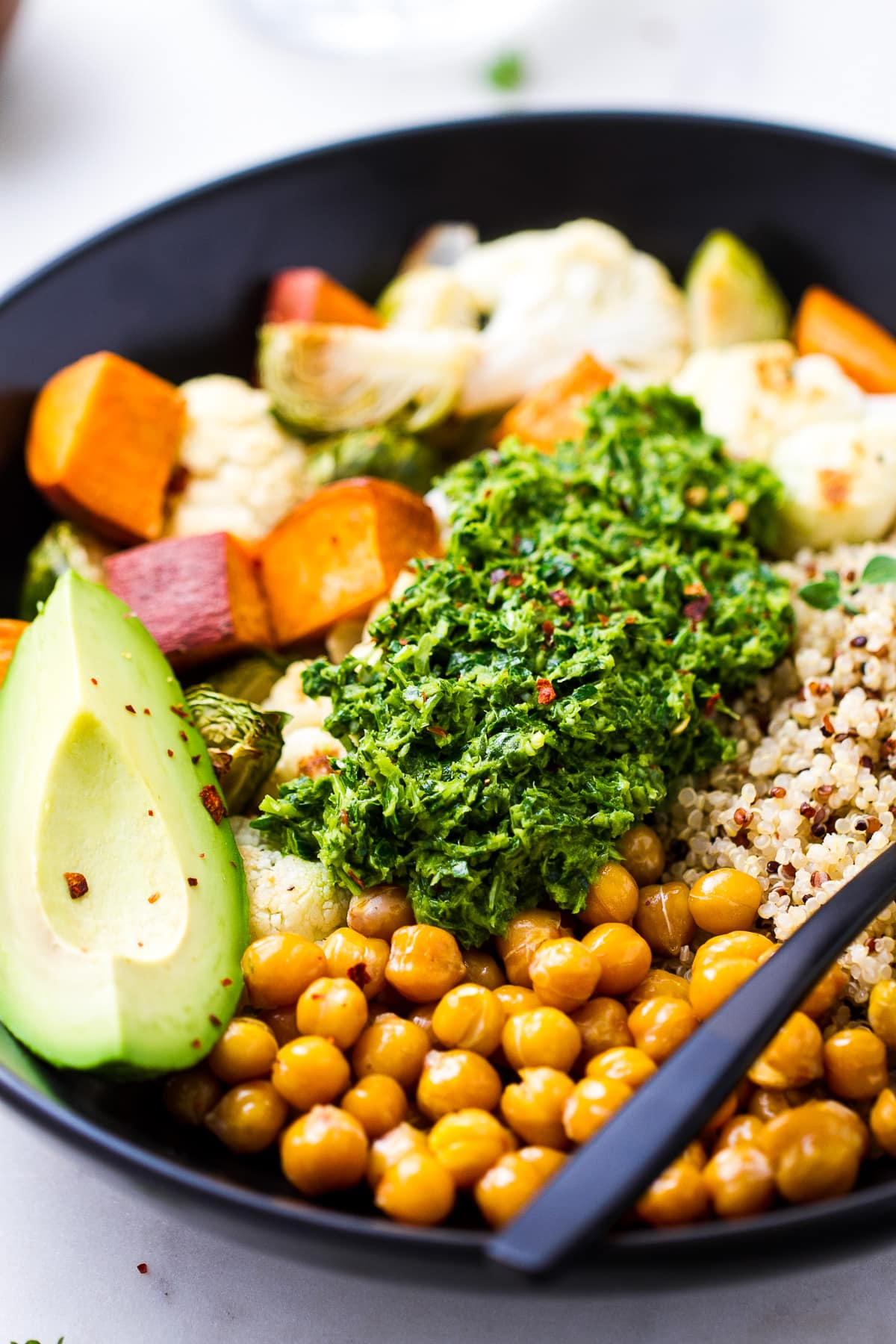 side angle view of healthy chimichurri nourish bowl.