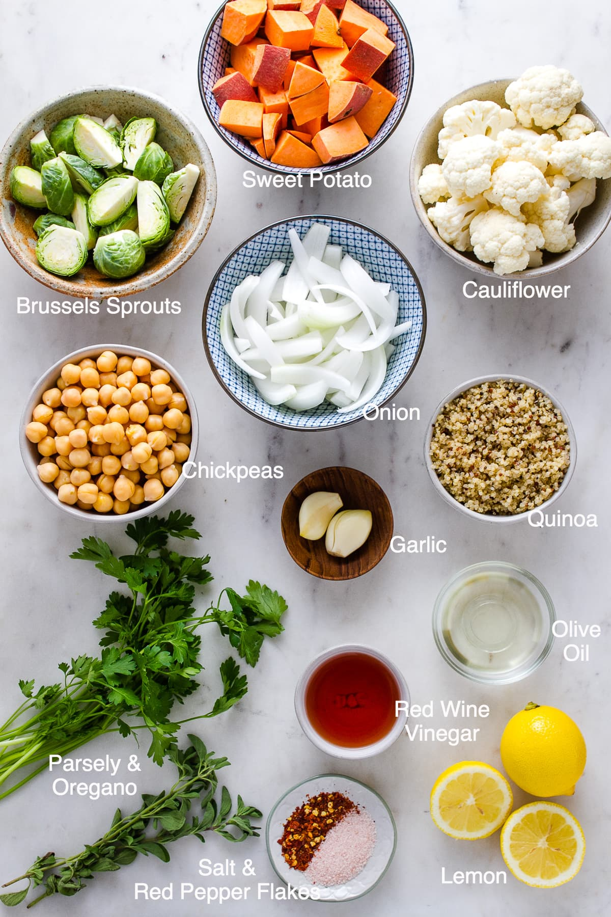 top down view of ingredients used to make chimichurri nourish bowl.