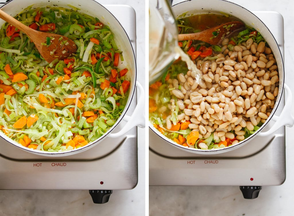 side by side photos of the process of making healthy lemony kale and white bean soup with leeks.