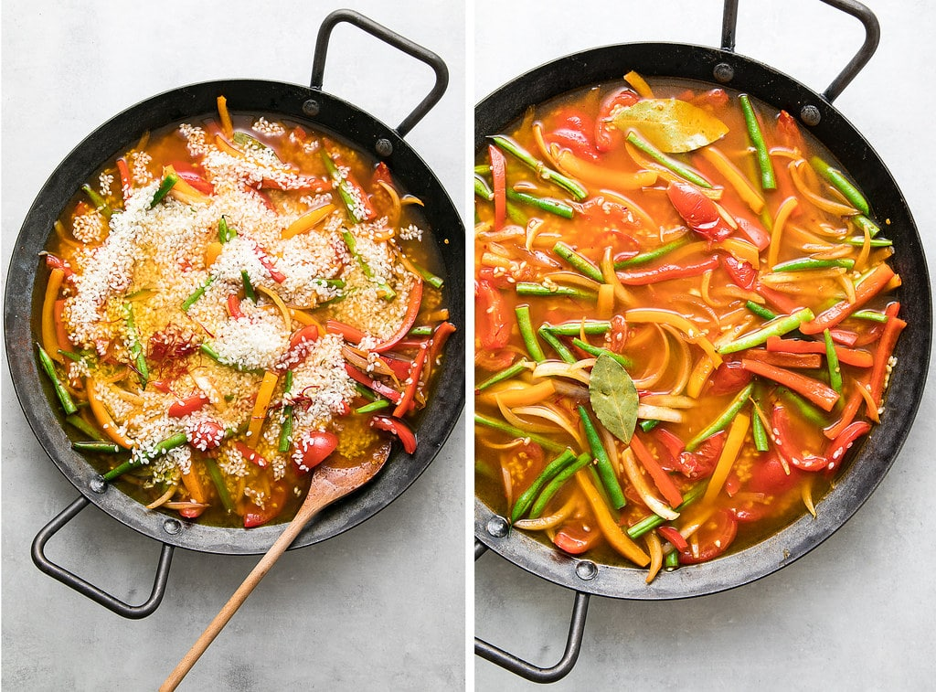 side by side photos showing the process of making vegetable paella.