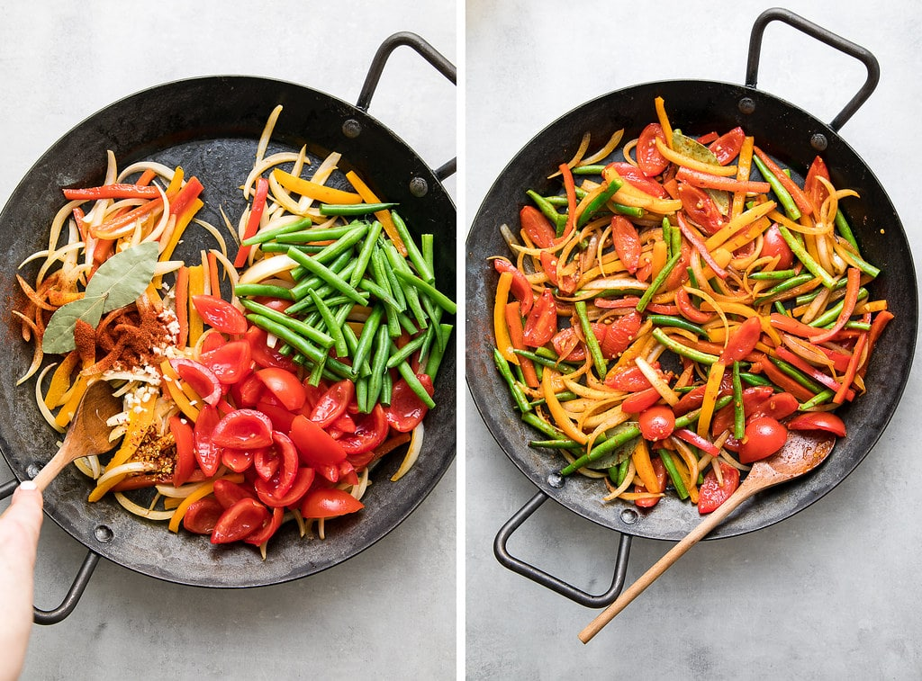 side by side photos of sauting veggies for paella.