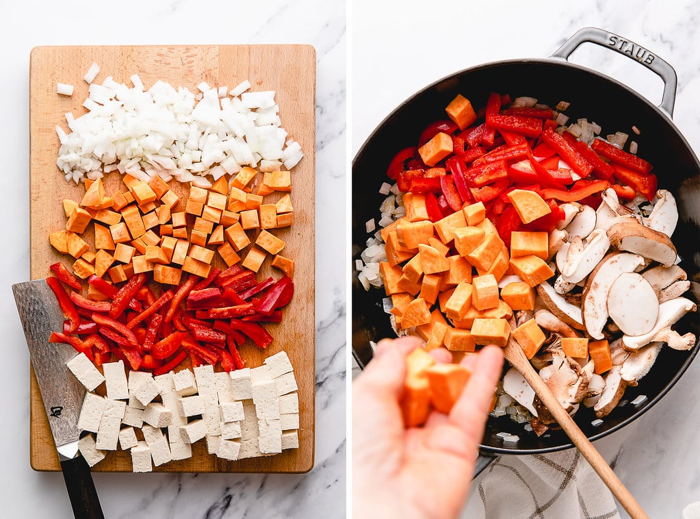 side by side photos showing process fo prepping and cooking tofu curry ingredients.