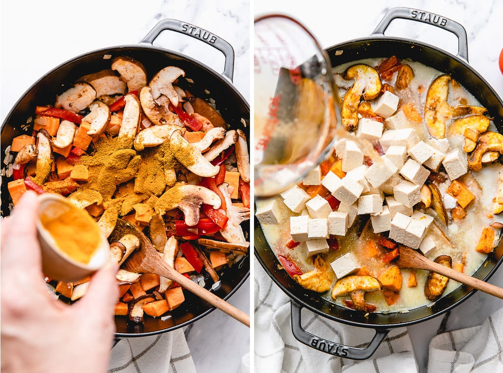 side by side photos showing the process of making vegan curry tofu.