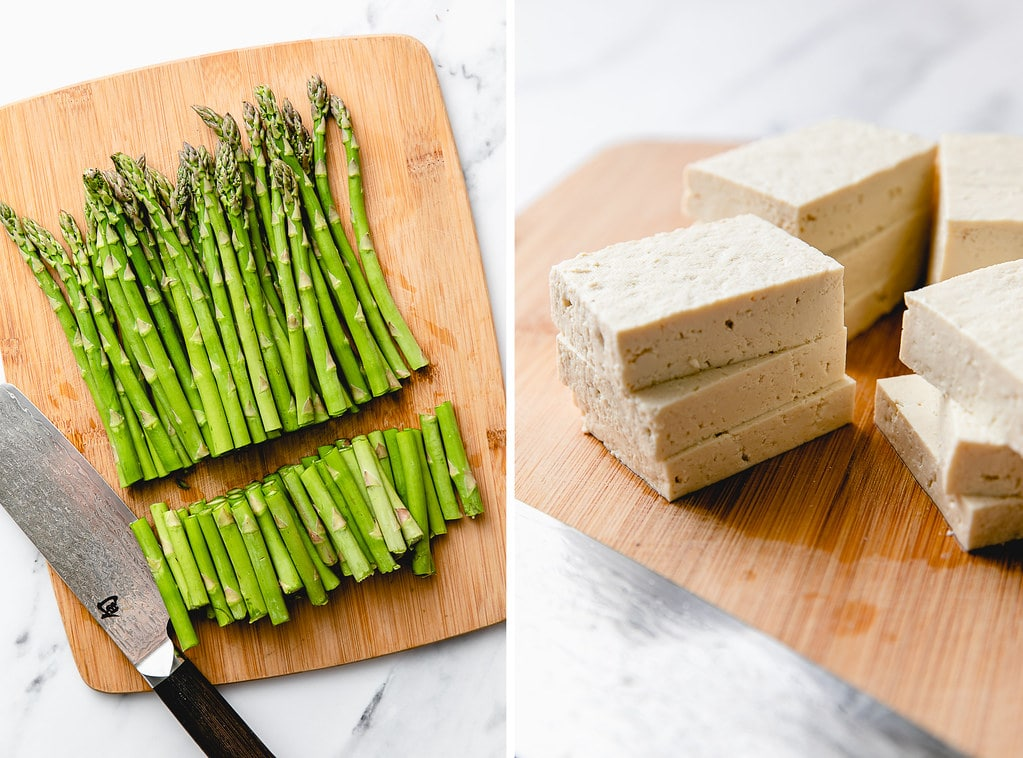 side by side photos of trimmed asparagus and tofu cut into slices.