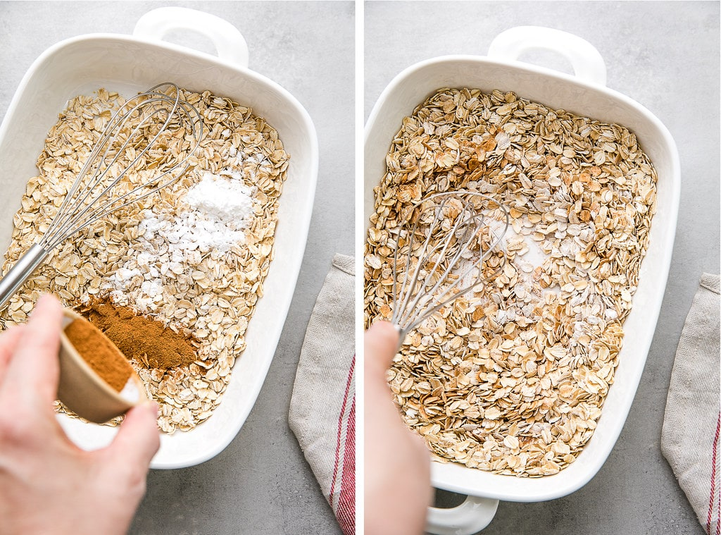 side by side photos of mixing dry ingredients for baked oatmeal.