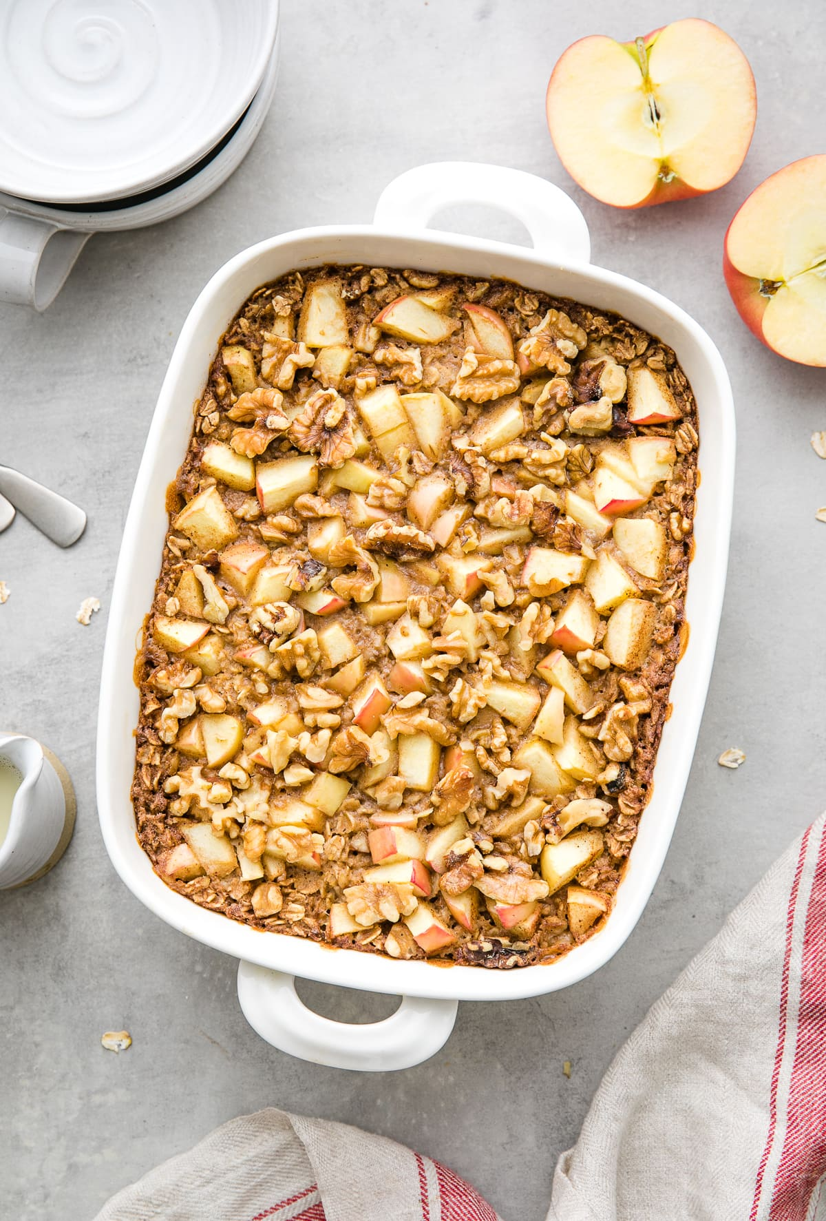 top down view of freshly made healthy apple baked oatmeal.