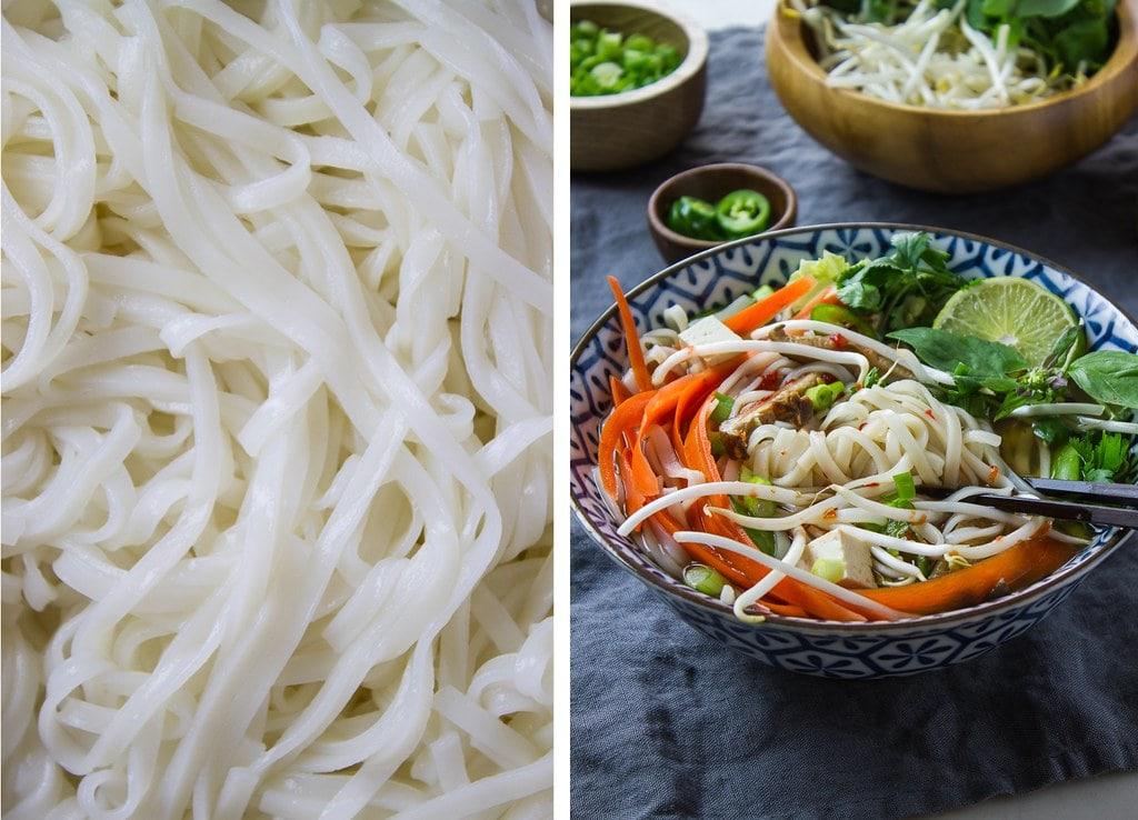 side by side photos showing rice noodles and bowl with rice noodles and vegan pho.