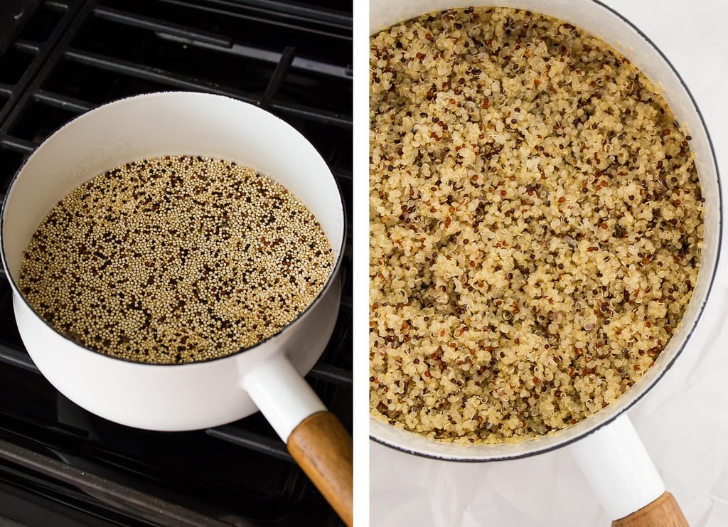 side by side photo showing the process of making quinoa.