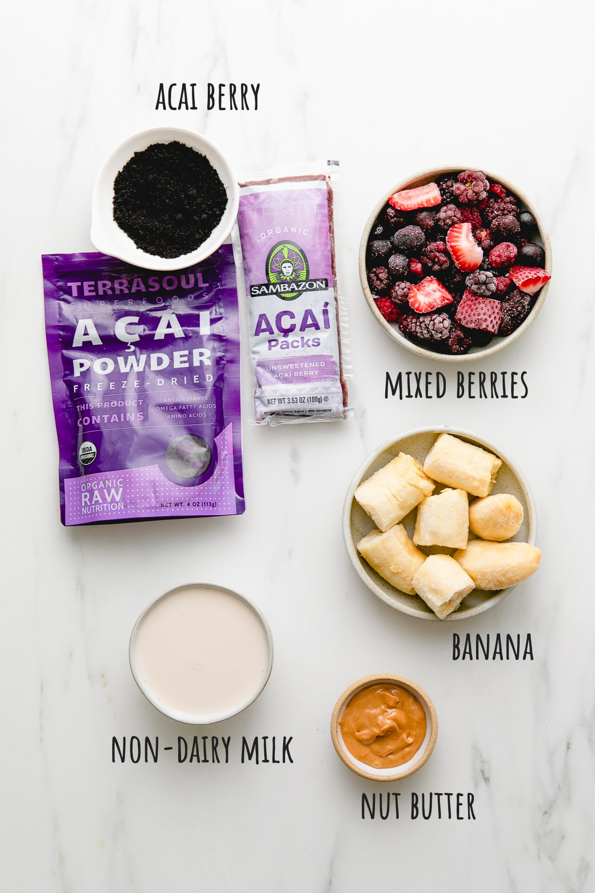 top down view of ingredients used to make healthy acai bowl recipe.