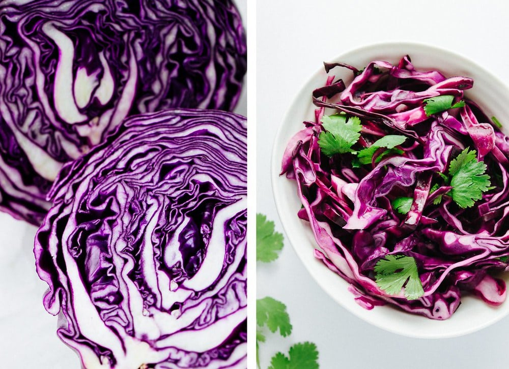side by side photo of red cabbage sliced in half, and red cabbage slaw in a white small white bowl