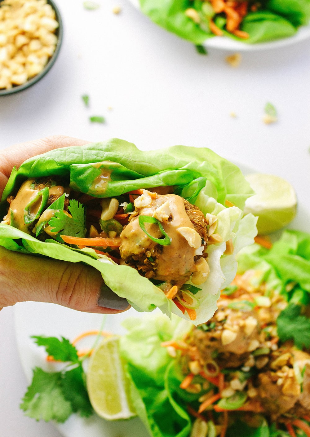 THAI QUINOA MEATBALL LETTUCE WRAPS + MINIMALIST BAKER'S 'EVERYDAY COOKING' COOKBOOK