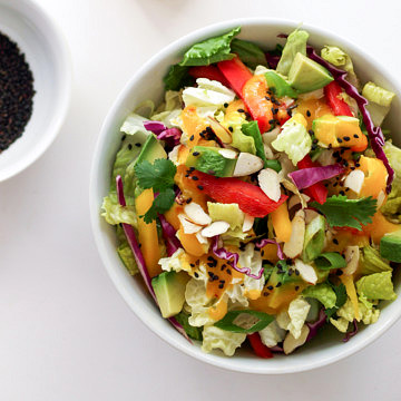 asian rainbow salad + spicy mango dressing with spicy mango dressing ready to serve