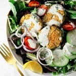 top down view of baked falafel salad