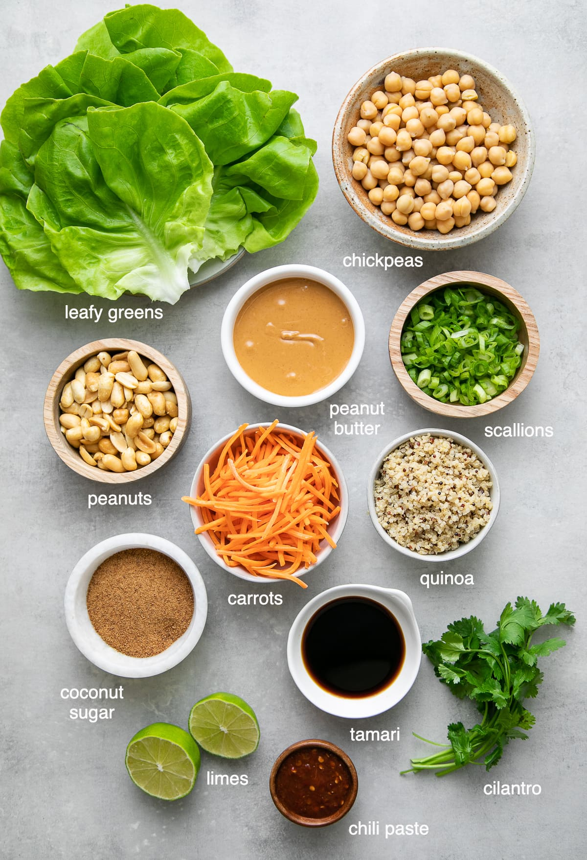 top down view of ingredients used to make thai quinoa meatballs lettuce wraps.