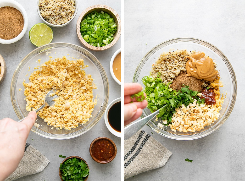 side by side photos showing the process of making thai quinoa meatballs.