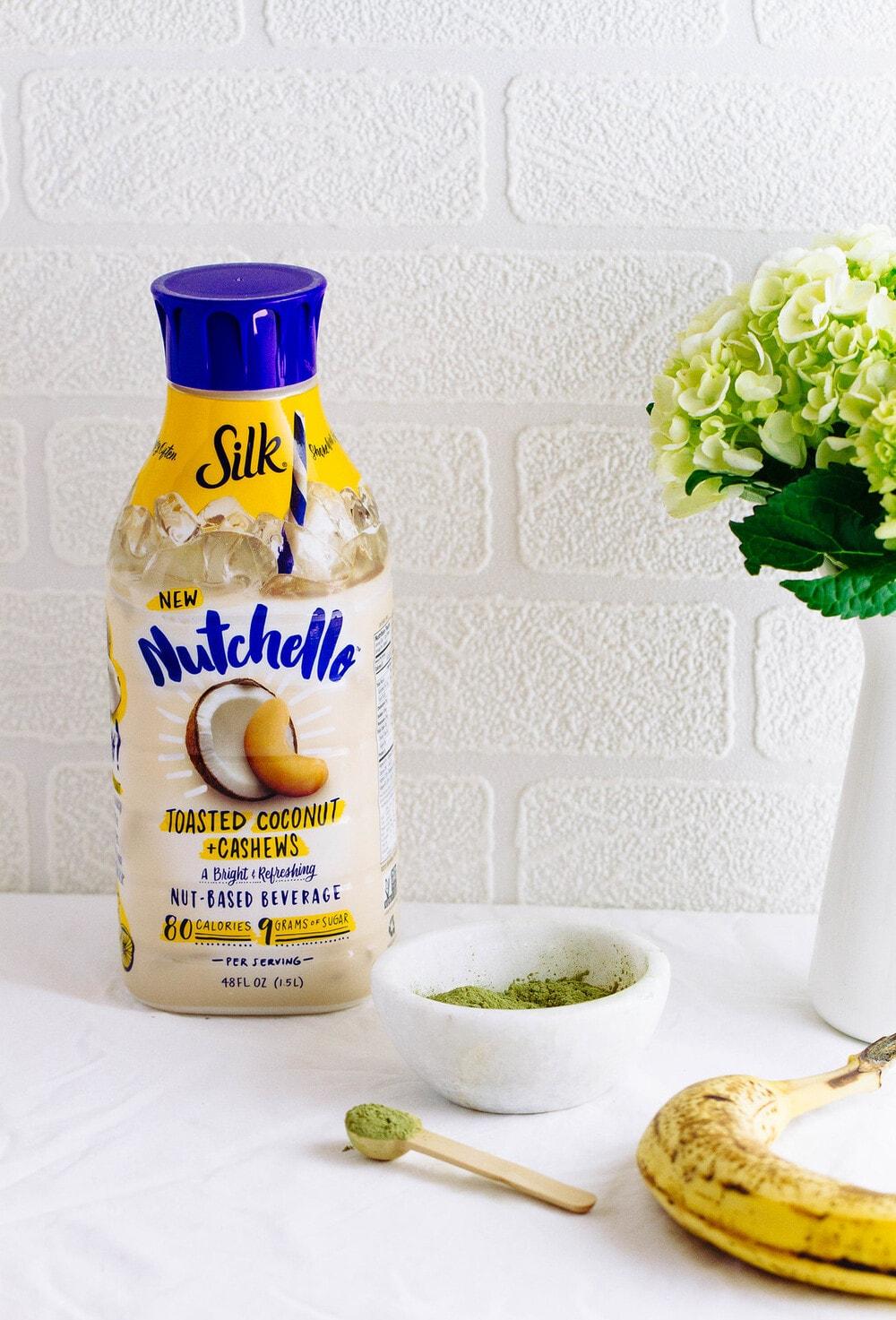 head on view of ingredients used to make healthy vegan matcha milkshake recipe.