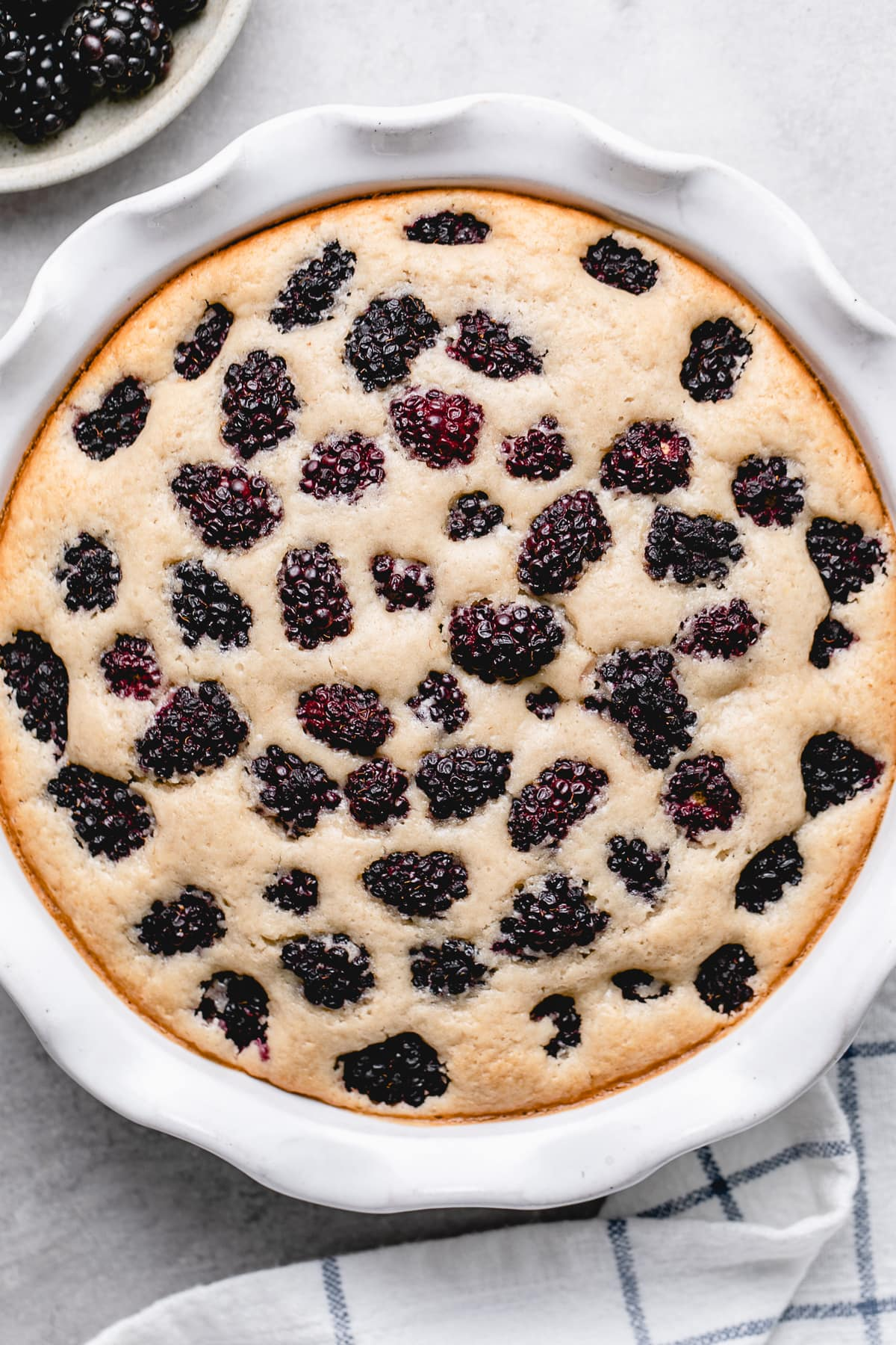 top down view of freshly made southern blackberry cobbler.
