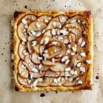 pear mosaic tart with cinnamon maple glaze