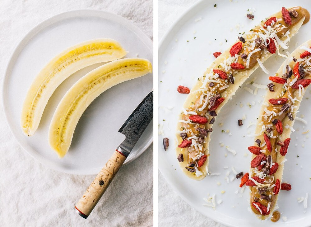 side by side picture of banana sliced and topped with peanut butter, coconut, cacao nibs, and goji berries.