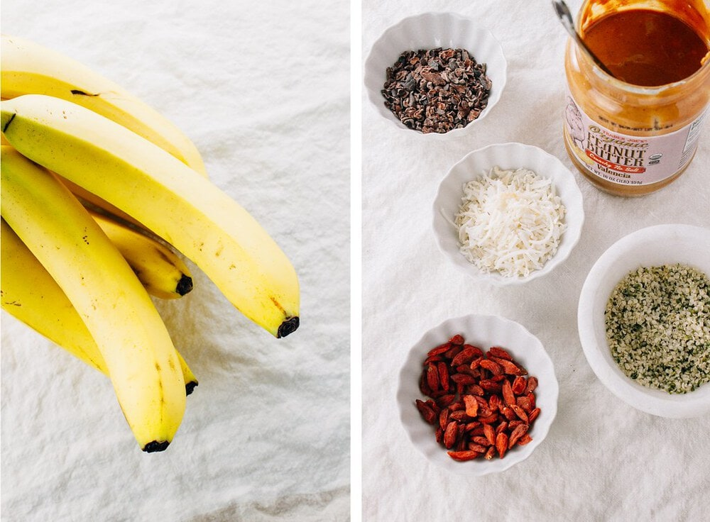 side by side picture of the ingredients needed to make healthy banana boats.