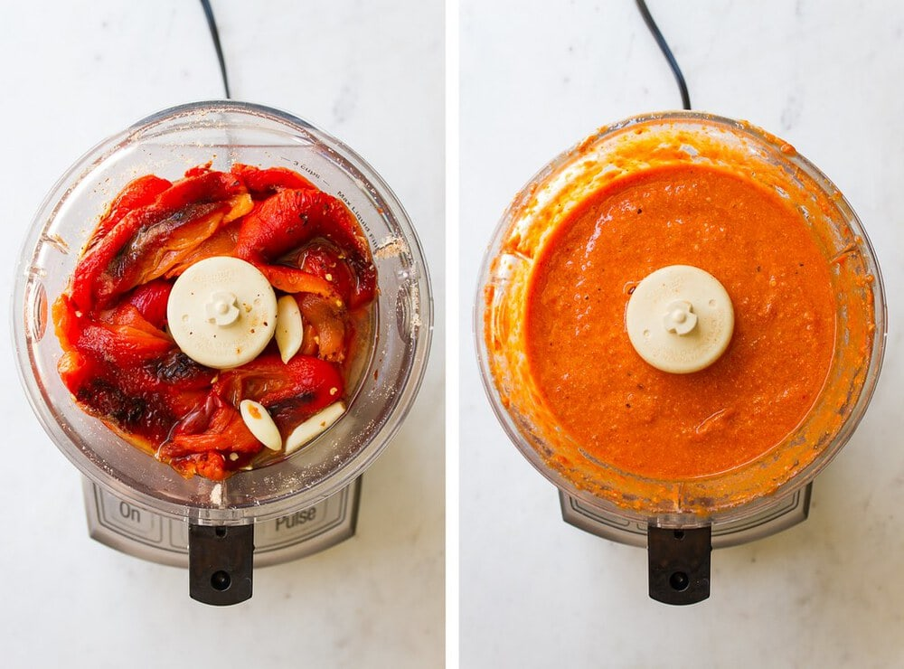 top down view of side by side pictures showing the process of blending easy vegan romesco sauce.