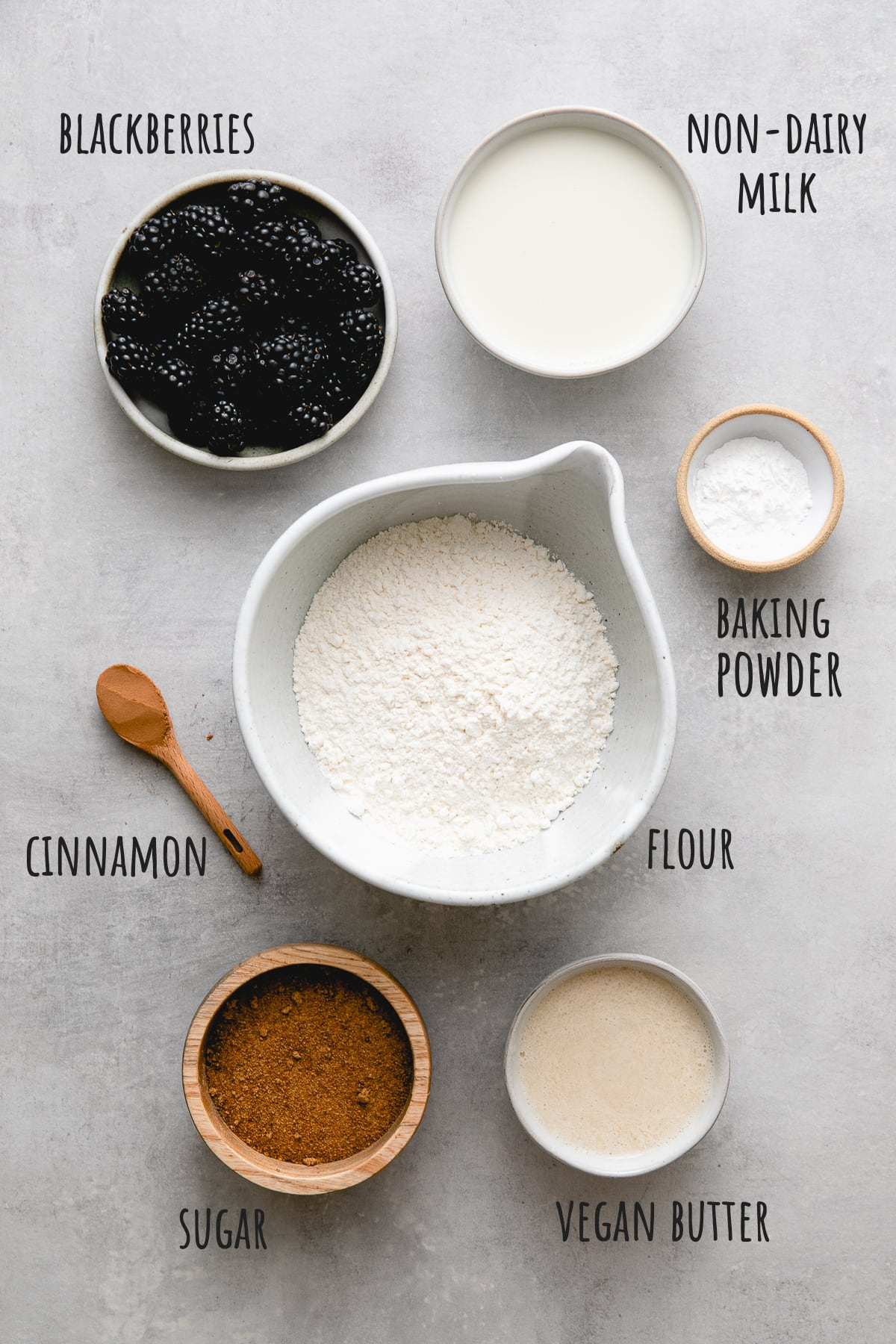 top down view of ingredients used to make southern-style vegan blackberry cobbler recipe.